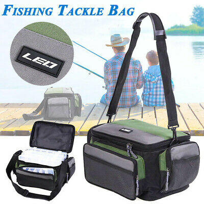 AU33.79 • Buy Fishing Tackle Bag Pack Waist Shoulder Waterproof Box Reel Lure Gear Storage New
