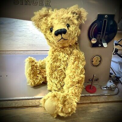 """£30 • Buy Pip Teddy Bear Kit. Traditional. Jointed. Antique Gold Vintage Art Silk 22cm/9"""""""