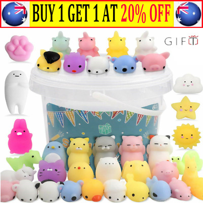 AU14.99 • Buy 50x Cute Mini Animal Squishies Kawaii Mochi Squeeze Toy Stretch Stress Squishy ~