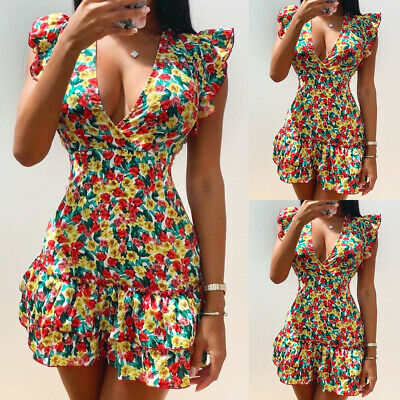 £10.99 • Buy Women Floral Frill Sexy V Neck Summer Mini Dresses Ladies Holiday Party Sundress