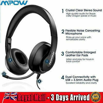 £22.29 • Buy Mpow Flodable Center Headphone Headset Call Earphone Office Car Gaming Phone UK