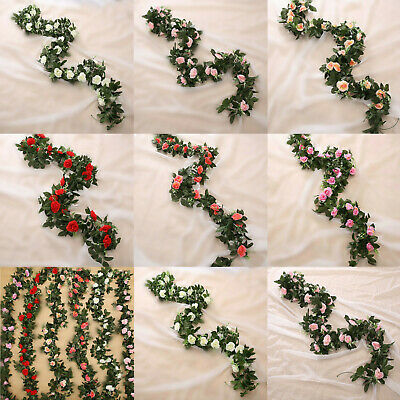 £4.39 • Buy 8ft Artificial Flower Silk Rose Leaf Garland Vine Ivy Home Wedding Garden Decor