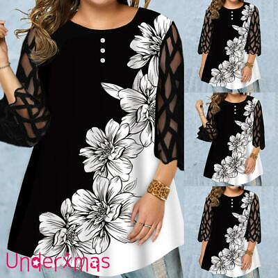 £13.99 • Buy Plus Size Women Mesh Sleeve Floral Tunic Tops T Shirt Ladies Casual Party Blouse