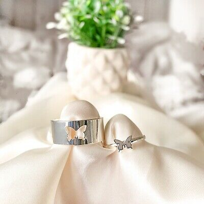 £14 • Buy Butterfly Promise Rings Couple Rings Set Cut Out Butterfly Friendship Rings