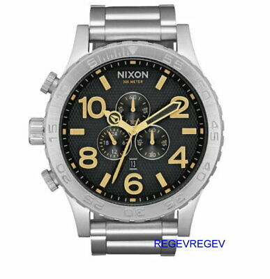 £136.02 • Buy Nixon Watch 51-30 Chrono Black Stamped / Gold A083-2730 A0832730 Stainless Steel