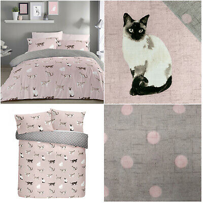 £14.99 • Buy CATS Cute Sweet Animal Print Dotted Reverse Blush Duvet Quilt Cover Bedding Set