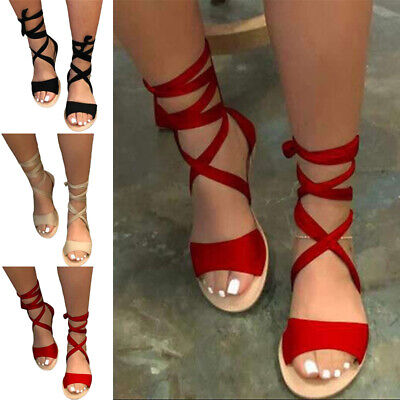 £12.56 • Buy Women Gladiator Flat Heels Sandals Stylish Comfort Strappy Beach Casual Shoes