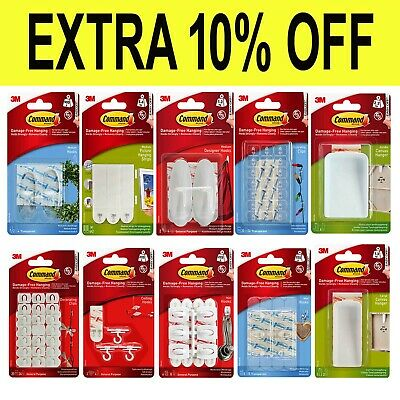 £9.89 • Buy 3M COMMAND Strips & Hooks Damage Free Picture/Poster Hanging, Small Medium Large