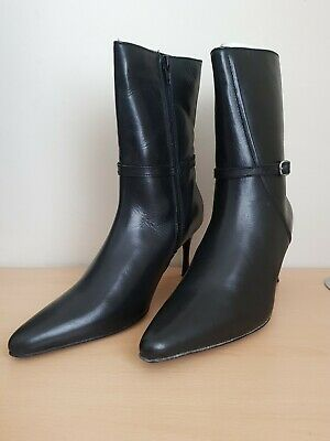 £12 • Buy London Rebel Black Leather Ankle Boots Size 7 EU 40