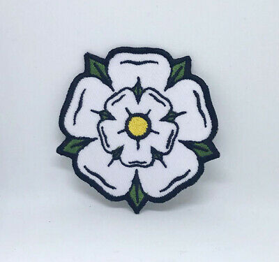 £2.49 • Buy White Rose Yorkshire Iron On Sew On Embroidered Patch