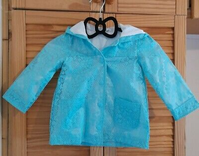 £6 • Buy Girls Hooded Turquoise Waterproof Mac Cotton Lined 9/12 Months Good Condition