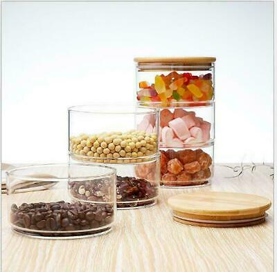 £12.99 • Buy Glass Food Canister Jar With Natural Bamboo Lid Silicone Ring, Stackable Jars
