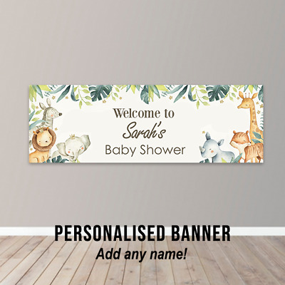 £7.99 • Buy Personalised Baby Shower Banner Party Poster Safari Zoo Jungle Animals