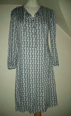 Ladies Brora Blue Part Button 3/4 Sleeve Dress Size Uk 8 • 14.99£