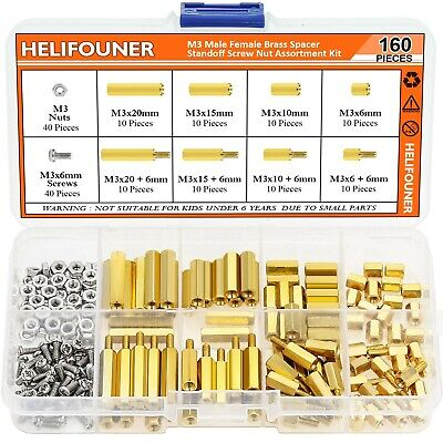 $13.50 • Buy 160 Pieces M3 Male Female Hex Brass Spacer Standoff Screw Nut Assortment Kit