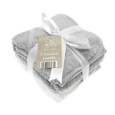 £11.45 • Buy Elli & Raff 2 Pack Hooded Baby Towels, Grey And White New Born Bath Gift Set