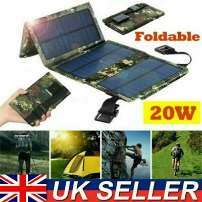 £18.80 • Buy 20W USB Solar Panel Folding Portable Power Charger Camping Travel Phone Charger