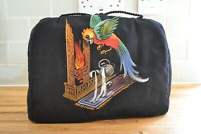 £45 • Buy VINTAGE 1930s Black Silk Hand Painted Tea Cosy With Parrot Design
