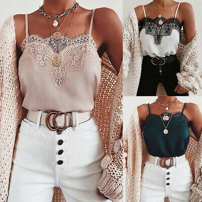 £8.39 • Buy Womens Lace Tank Tops Sleeveless Vest Cami Ladies Summer Strappy T-shirt Blouse