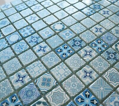 £1.50 • Buy CUT SAMPLE Vintage Blue & White Indian African Feature Pattern Glass Tile Mosaic