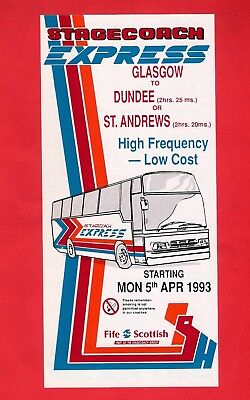 £4.25 • Buy Fife Scottish Timetable ~ Stagecoach Express - Glasgow: Dundee: St Andrews: 1993
