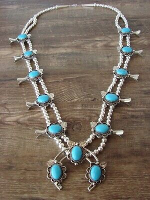 $ CDN364.35 • Buy Navajo Nickel Silver Turquoise Squash Blossom Necklace By Bobby Cleveland