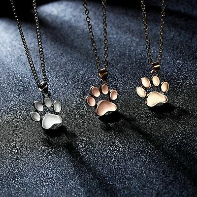 £3.61 • Buy Dog Paw Cat Paw Pendant Chain Necklace Jewelry For Men Women Girls Boys Gift