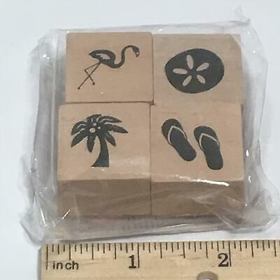 Tropical Party Hawaiian Luau Palm Tree BEACH SET Rubber Stamp By Recollections • 2.79£