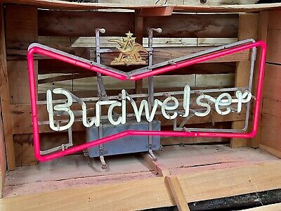 $ CDN1209.54 • Buy VTG 1950s ANTIQUE BUDWEISER BEER NEON BOWTIE ADVERTISING SIGN IN ORIGINAL CRATE