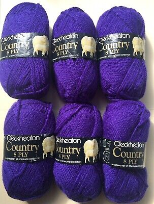 AU25 • Buy  6 Balls (290g) Vintage Cleckheaton Country 8 Ply 100% Pure Wool - Purple