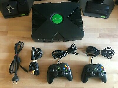 AU130 • Buy Microsoft Xbox Original Console With 2 Controllers And All Cables *WORKING* 2004