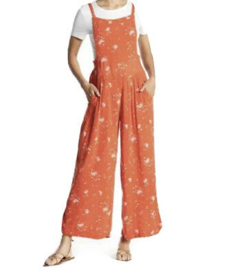 AU15.81 • Buy Free People | Sweet In The Streets Wide Leg Overall | Orange | XS Floral Summer