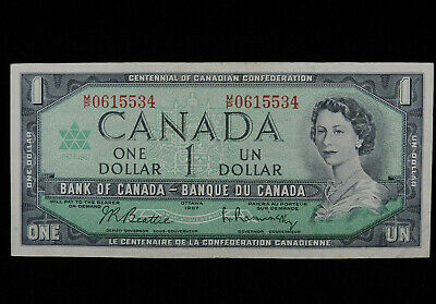 1967 $1 Dollar Bank Of Canada Banknote M/P 0615534 Centennial VF Grade Low Print • 0.74£