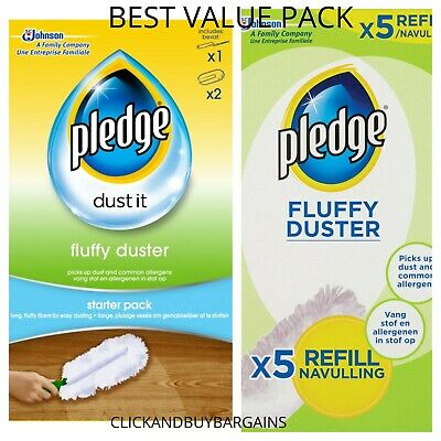 Pledge Fluffy Dusters Starter Kit Dry Dusting Cleaning Cloth Pack Duster Refills • 8.90£