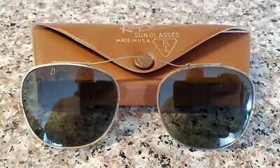 AU57.05 • Buy VINTAGE Ray-Ban Clip-On Style Sunglasses ~ By Bausch & Lomb ~ 46mm  W/ Case