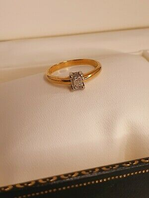 £550 • Buy 18ct Gold Solitaire Emerald Cut 0.50ct Diamond Ring Size Uk O - Heavy