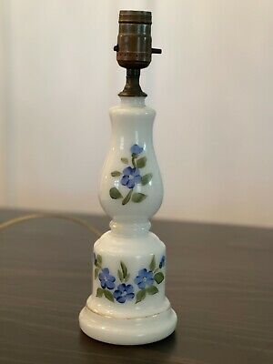 $20 • Buy Vintage Milk Glass Bedside Table Dresser Lamp With Hand Painted Blue Flowers