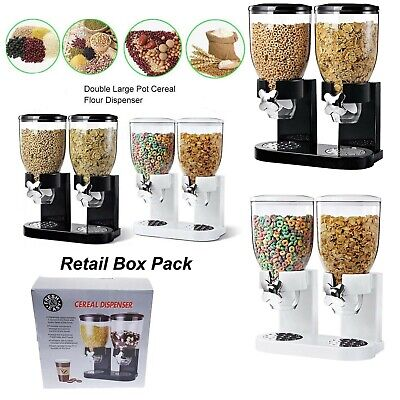 £14.89 • Buy Double Cereal Dispenser Dry Food Pasta Flour Rice Storage Container Machine Uk
