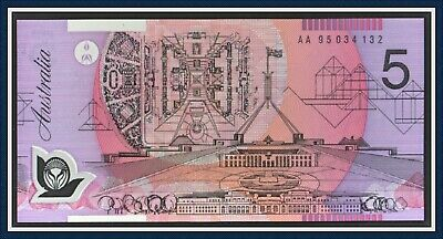 AU25 • Buy Unc. First Prefix  AA95  $5 Polymer Banknote AA 95 034 132 Fraser/Evans