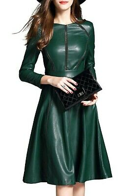 AU185.78 • Buy Handmade Women's Lamb Skin Leather Celebrity Stylish Dress