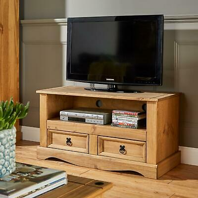 £69.99 • Buy TV Stand Waxed Pine 2 Drawer Television Cabinet Corner Unit Corona Solid Wood