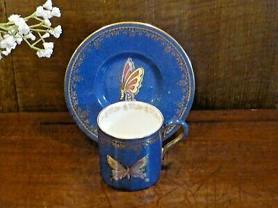£135 • Buy ANTIQUE Wedgwood BUTTERFLY LUSTRE Powder Blue & Gilt COFFEE CUP & SAUCER
