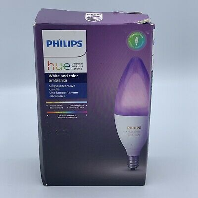 AU48.90 • Buy Philips Hue 468900 6.5W Single Decorative Candle Bulb White And Color Ambiance
