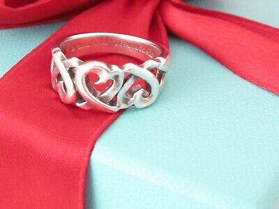 £97.78 • Buy  Tiffany & Co. Silver Paloma Picasso Triple Loving Heart Ring Size 6