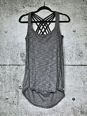 $ CDN58 • Buy Lululemon Wild Tank 12 Heathered Black Strappy Attached Bra Vguc