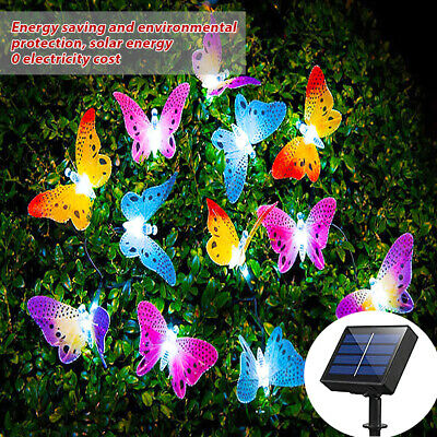 £9.89 • Buy Solar Power Butterfly LED Fairy String Lights Garden Outdoor Waterproof Party 4M