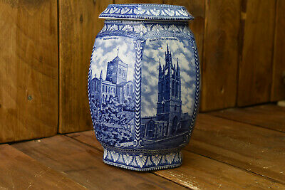 £33.99 • Buy Maling Ware , Blue And White Ringtons Pottery Tea Caddy Northern Cathedrals 1920