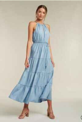 AU79.99 • Buy Forever New Blue Denim Tiered Maxi Dress S10 NWT