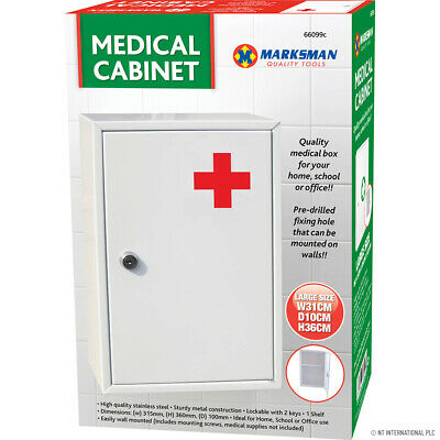 £13.95 • Buy New Medical Cabinet First Aid Wall Mounted Medicine Kit Tablet Box White Home
