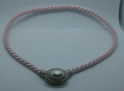 $67.88 • Buy Judith Ripka Sterling Oval Cultured Mabe Pearl Enhancer Pink Cord Necklace